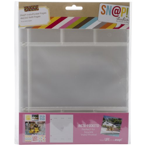 (Simple Stories Snatp! Insta Pocket Pages for 6 by 8-Inch Binders with 2 by 2-Inch and 4 by 6-Inch Pockets, 10-Pack)