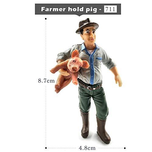 HUHKNDS Simulation Farm Hold Dog Sheep Cow Pig Farmer People Model Figurine Miniature Fairy Garden Home Decor Decoration Accessories Toy Farmer Hold Pig