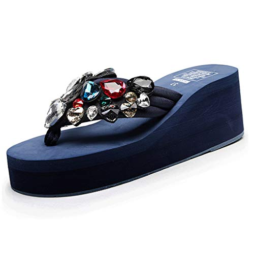 Cenglings Women Flip Flops Sandals Solid Wedges Crystal Clip Toe Sandals Slippers Beach Shoes High Heel Pumps Dark Blue ()