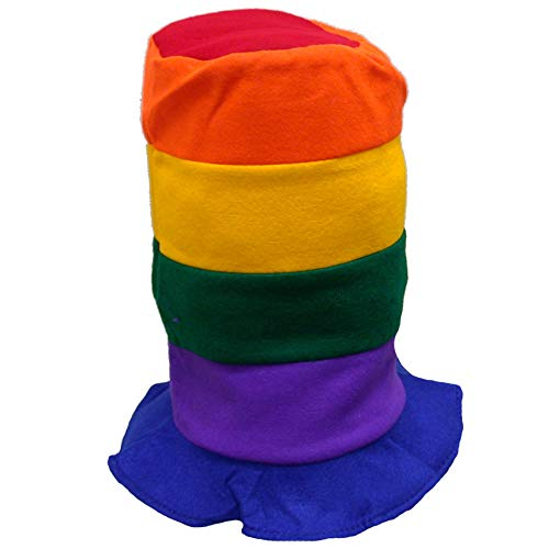 Rainbow Color Stove Pipe Party Top Hats - 12 Pack -
