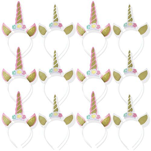 12Pcs Unicorn Headband Gold Glitter with 3 Flower Ears Headband for Party  Decorations 9e03b45d1386