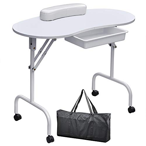 Nail Table Portable Collapsible Mobile Pulley Studio Beauty Salon Manicure Table with Drawer + Wrist Rest + Carrying Bag,White