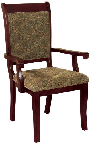 Furniture of America Bernette Transitional Style Arm Chair, Antique Cherry Finish, Set of 2 ()