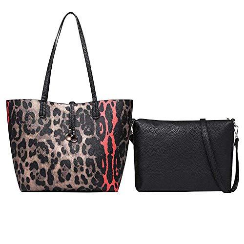 Women Leopard print Shoulder Bag PU Leather Handbag Top Handle Hobo Satchel Bag