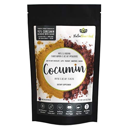 Cocumin Cacao Powder Turmeric Curcumin Powder Organic 95% Curcuminoids Blend – High Potency Tumeric Curcumin Powder Extract Blended with Cacao Powder, Black Pepper and Oil (Curcumin Cacao 4.41oz/125g)