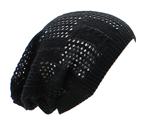 an Black Beanie Crochet Summer Hat for Women Men Teens Cool Pattern