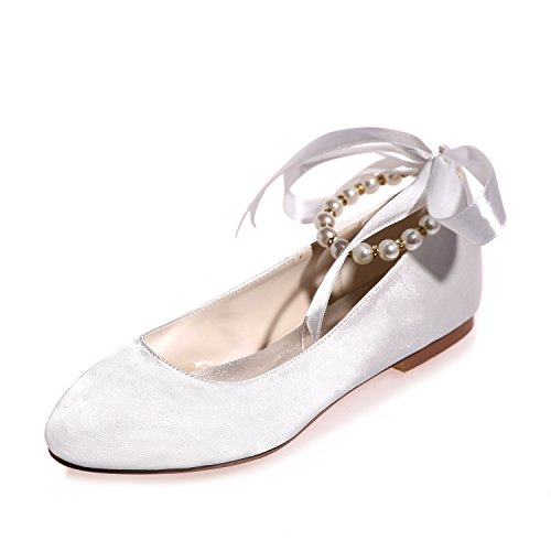 Fashionmore Women's Ballerina Flat Shoes White 7.5 US
