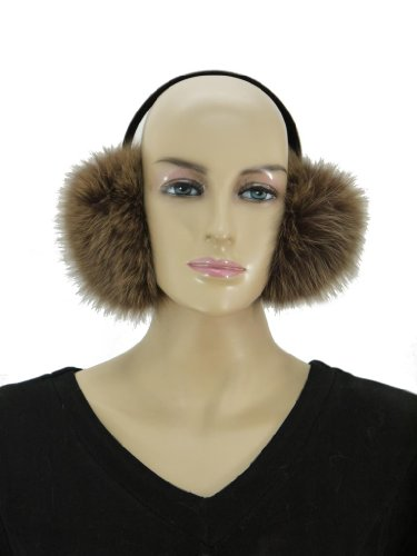 Women's Fox Fur Earmuff-Brown (Fox Fur Earmuffs)