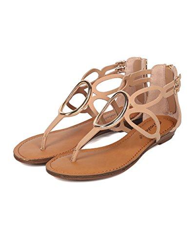 Breckelles Femme Sandale À Découpes T-strap - Mini Sandale Compensée - Sandale O Ring - Hk97 Par Similicuir Naturel