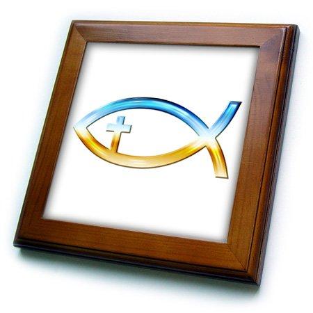 3dRose ft_41763_1 Chrome Christian Fish Symbol with Cross-Framed Tile Artwork, 8 by 8-Inch (Cross Framed Tile)