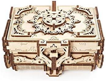 UGEARS Cofrecito De Época Modelo mecánico - Puzzle 3D Rompecabezas Adultos - Caja de Tesoro de Madera - Cofre del Tesoros - Vintage Cajas de Madera Maquetas para Construir Adultos y Adolescentes: