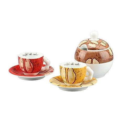 THUN Set 2 Tazzine Espresso + Zuccheriera Samba Porcellana 14x16x14 ...