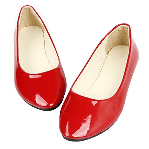 Lieve Tijd Vrouwen Slip Op Ballet Flats Puntschoen Ballerina Schoenen Rood