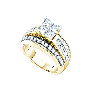 14kt Yellow Gold Womens Princess Diamond Elevated Cluster Bridal Wedding Engagement Ring 2.00 Cttw