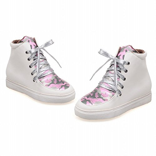 Latasa Kvinna Mode Tryckt Spets-up Plattform Inne Kilklack Boots Rosa