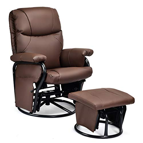 Giantex Glider Recliner with Ottoman, Swivel Glide Rocking Chair with Footrest Stool, PU Leather Lounge Armchair, 360 Degree Swivel Overstuffed Padded Seat Chair (Brown)