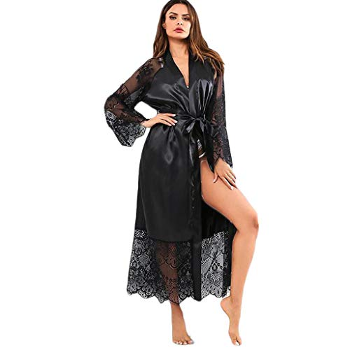 Women's Lace Kimono Robe Bathrobe Lingerie Sleepwear Belt Pajamas Black