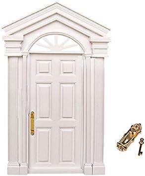 Amazon.es: 1/12 Dollhouse Mínima Puerta De Madera De Estilo De Lujo Muñeca De Puerta De Madera Puerta Blanca: Juguetes y juegos
