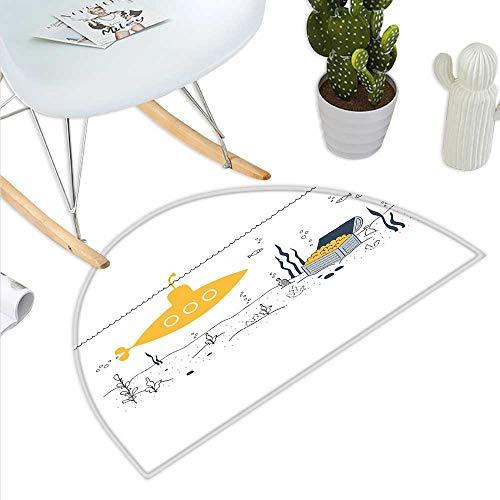 Yellow Submarine Semicircle Doormat Submarine Fish and a Treasure Chest on The Sea Bottom Print Halfmoon doormats H 15.7