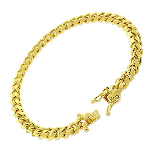 Sterling Silver 7mm Miami Cuban Curb Link Thick Solid 925 Yellow Gold Plated Bracelet Chain 8.5