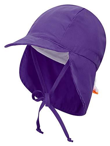 (Livingston Boy's SPF 50+ UV Sun Ray Protective Safari Hat w/Neck Flap, Purple)