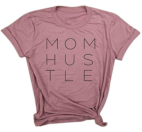 Mom Hustle T-Shirt Women's Summer Short Sleeve Letter Print Loose Fit Tops Blouse Size L (Red)
