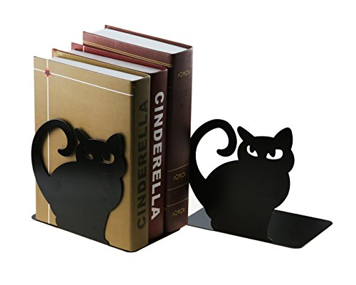 Cute Vivid Lovely Persian Cat Book Organizer Metal Bookends For Kids School Library Desk Study Home Office Decoration Gift (Black) by Apol (Image #6)