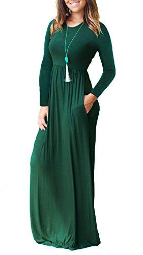 Dearcase Femmes Manches Longues Robes Amples Poches Maxi Simples Robes Longues Occasionnels Vert Foncé