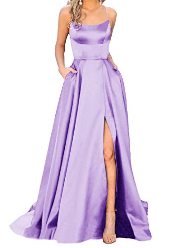 Satin Prom Gown - Women's Spaghetti Satin Long Black Prom Dresses with Pockets (2, Lilac)