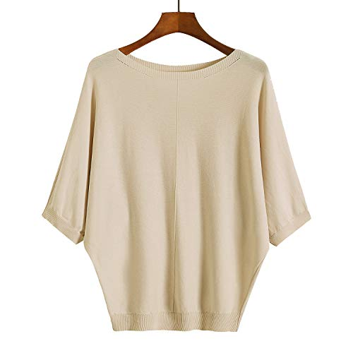 GABERLY Womens Boat Neck Dolman Half Sleeve Ice Silk Summer Knit Tees Pullover Blouse Top (Apricot, One Size) ()