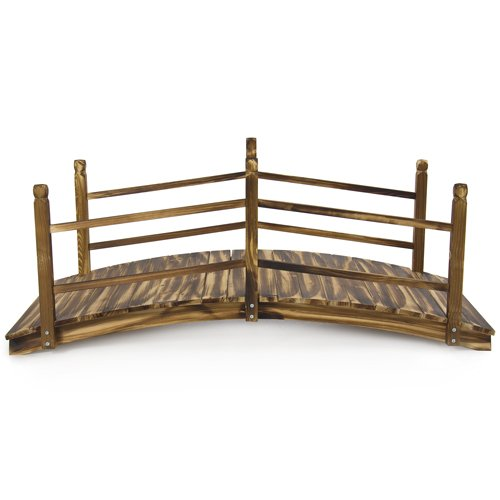 Best Choice Products Wooden Bridge 5' Stained Finish Decorative Solid Wood Garden Pond Bridge New