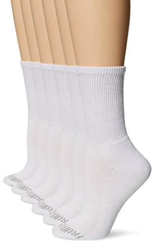 (Fruit of the Loom Women's Fit for Me Everyday Active Crew Sock (6 Pack), White, Shoe Size: 4-10)