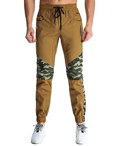 Con Pantaloni Uomo Da Cargo Cotone 2 Di Jogging Elastica Vita Khaki Sportivi Coulisse Casual Allenamento Giovane Chino 7rF7xqH