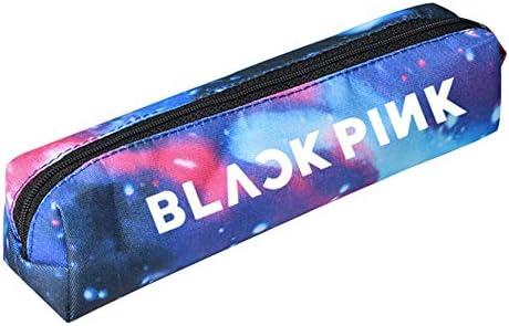 Saicowordist KPOP BTS EXO GOT7 Nette Q-Version - Bolsa para lápices, diseño de texto en inglés, color BLACK PINK-Blau: Amazon.es: Oficina y papelería