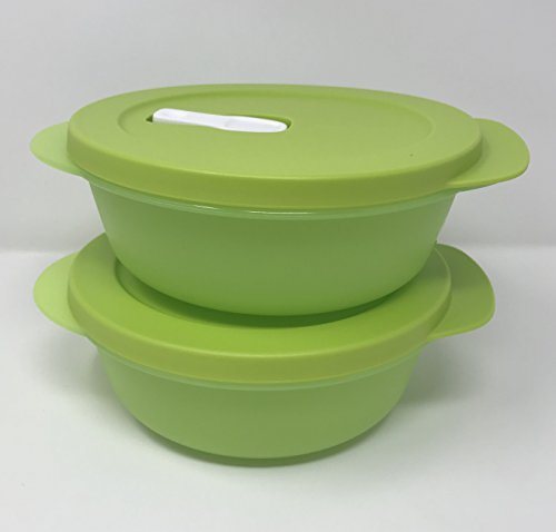 Tupperware CRYSTALWAVE Microwave Lunch Bowl SET 2.5 cups New Lime Green