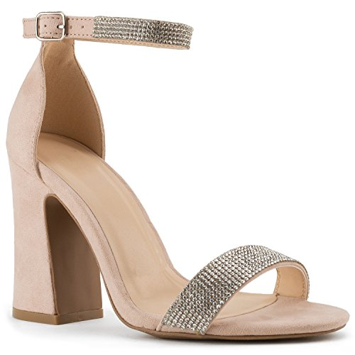 RF ROOM OF FASHION Women's Rhinestone Strap Block High Heel Dress Sandal | Formal, Wedding, Evening Party Classic Ankle Buckle Pump Nude - Jeweled Heel High
