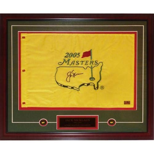 Jack Nicklaus Autographed Signed Auto 2005 Masters Golf Pin Flag Deluxe Framed with Nameplate and Ball Markers - Certified Authentic