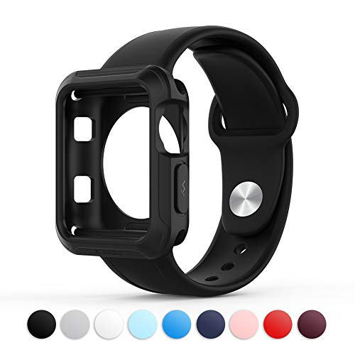 Towiph Compatible with Apple Watch Band 42mm 44mm Soft Silicone iwatch Band 44mm 42mm Series 3 4 2 1 Woman Man Sport Smartwatch Band Replacement Black with Free Apple Watch Case 42mm