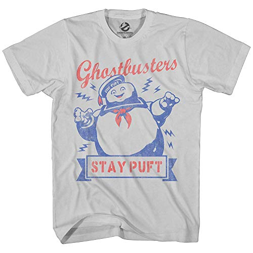 (Ghostbusters Mens Stay Puft Shirt Stay Puft Logo Tee Shirt Graphic T-Shirt (Silver, X-Large))