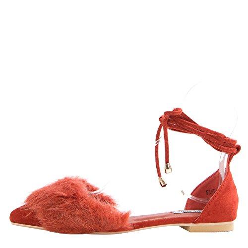 Cape Robbin Kvinna Spetsiga Tå Selftie Ben Wrap Snörning Balett Platt Ballerina Sandals Skor Rost