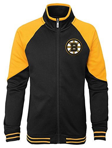 Outerstuff NHL Boston Bruins Youth Girls Faceoff Full Zip Jacket, Medium(10-12), - Jacket Zip Full Licensed