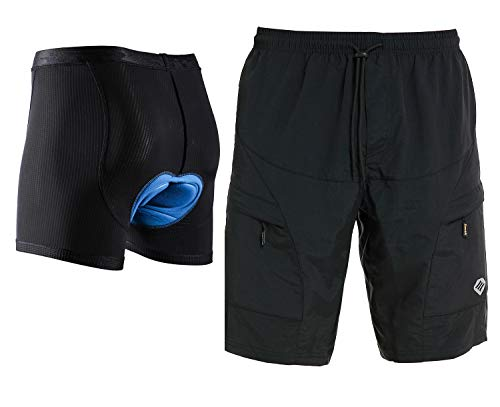 Santic Men's Loose-fit Mountain Bike Shorts Coolmax Lightweight Padded Cycling MTB Shorts Black XL
