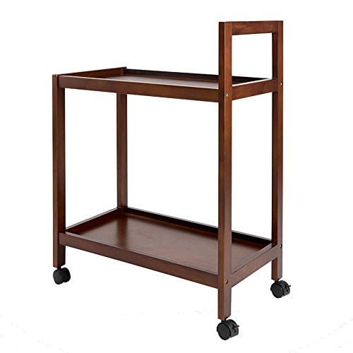 - Trolley Chunlan 2-Storey Kitchen Storage Service Car, Solid Wood, Living Room Bedroom Bedside, Wheeled, 59 32.5 79.5cm