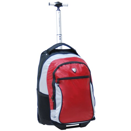 CALPAK City View Deep Red 18-inch Rolling Backpack