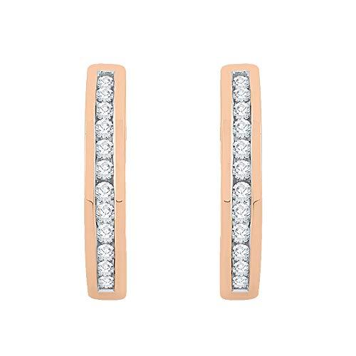 KATARINA Channel Set Diamond Huggie Earrings in 10K Rose Gold (1/4 cttw, G-H, I2-I3)