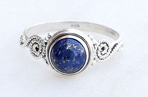 Blue Lapis Lazuli Ring, 925 Sterling Silver Lapis Stone Gemstone Ring, Girl Women Gift Ring Size US 5 6 7 8 9 10 11 12
