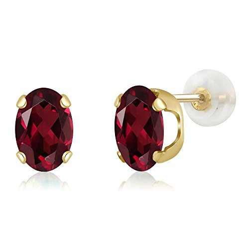 Gem Stone King 2.70 Ct Oval 8x6mm Red Rhodolite Garnet 14K Yellow Gold Stud Earrings