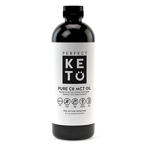 Perfect Keto C8 MCT Oil: 100% Pure Caprylic Acid Liquid Coconut Oil Fat Source as Keto Coffee Creamer - Ketones Best as Ketogenic Diet Supplement- Low Carb Ketone Octane for Brain by Perfect Keto