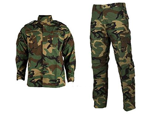Tactical Shirt Woodland Camo - ZAPT Military Uniform Tactical Atacs A-tacs FG Camo PC Ripstop Shirt & Pants Army Combat Coat y Combat Coat (XL, Woodland)