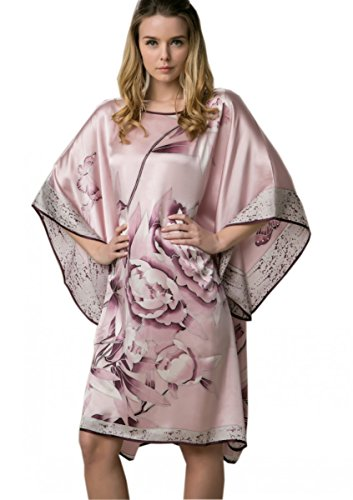 Prettystern - 100% del camisón de satén de seda crepé con kimono pintado a mano la pintura del cepillo del chino YBS302 Rosa